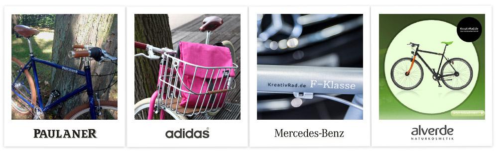 Promotional Bikes von Kreativrad u. a. für alverde, Mercedes, adidas, Paulaner.