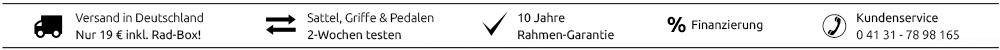 Dein KreativRad – 10 Jahre Rahmen-Garantie - Sattel, Griffe und Pedale 2 Wochen lang testen - 0 % Finanzierung - Kundenservice - Versand innerhalb Deutschland 19,-- € inkl. Rad-Box.