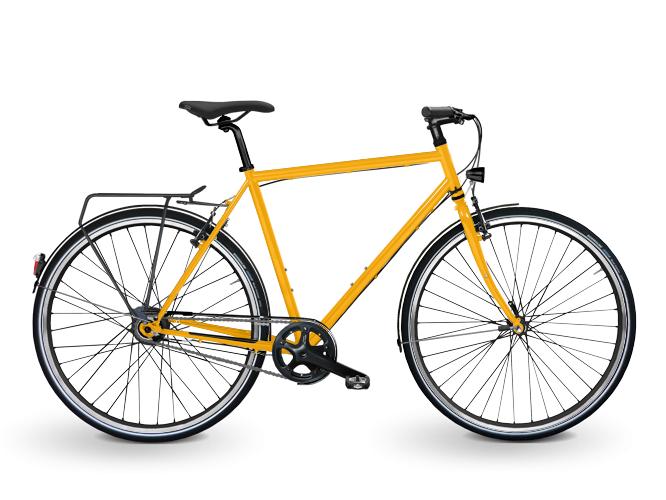 Das Eco StadtRad Herren in gelb. Ein Citybike mit Nabenschaltung und Nabendynamo von SHIMANO.