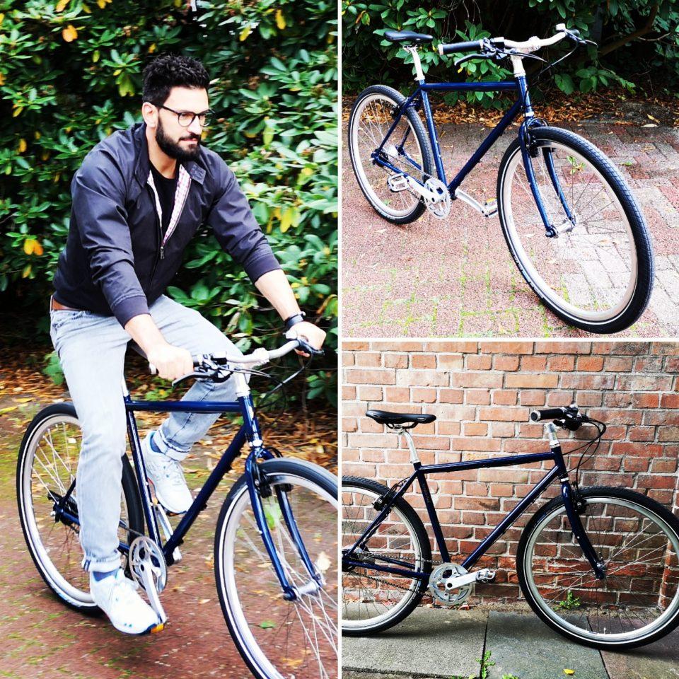 Urban bike Fahrrad in Stahlblau