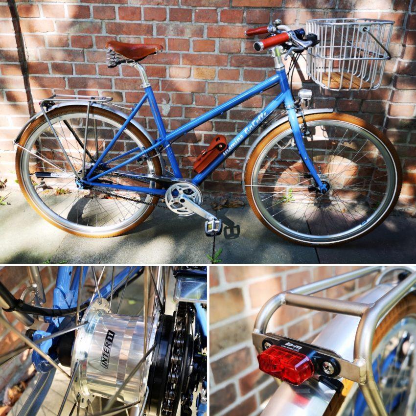 Urban Bike von KreativRad. Damen Stahlrahmen in blau mit individuellem Schriftzug. Ausgestattet mit einer 11-Gang Alfine von Shimano, einem Tubus Fly Gepäckträger und Brooks Ledersattel B67S in honey.