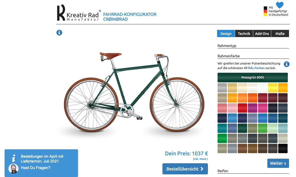 Online Fahrrad Konfigurator Screenshot